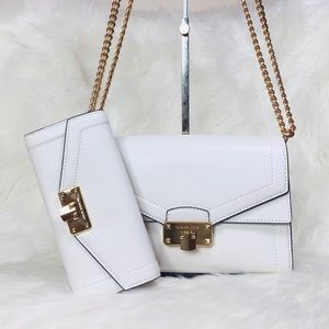 2PCS Michael Kors Kinsley Shoulder Flap Bag Wallet